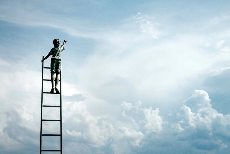 Growth Mindset - boy on ladder